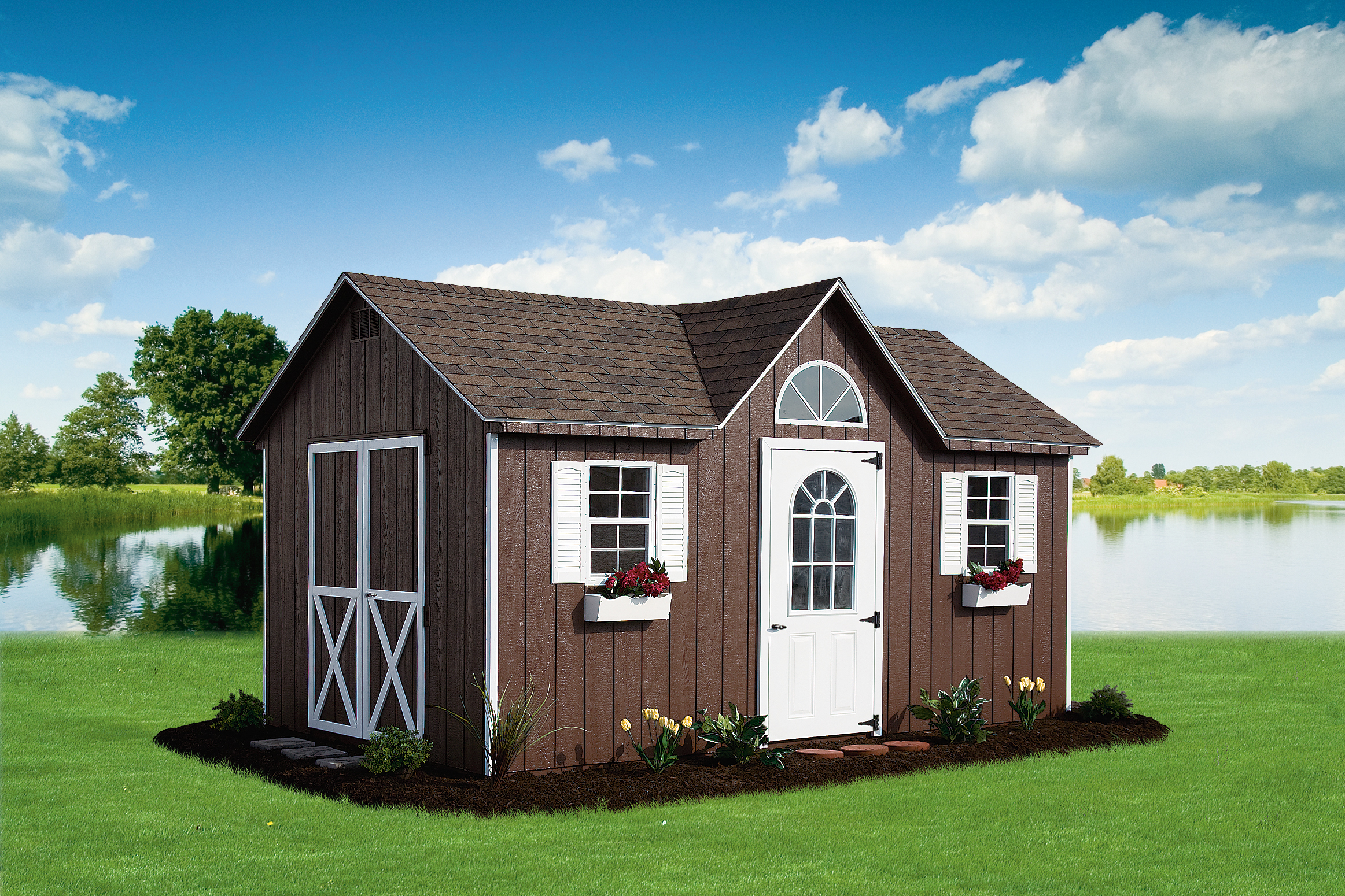 Dormer Shed 10 X 16 With Flower Boxes And Round Window Champion Lawn Ornaments Gifts Champion Pa